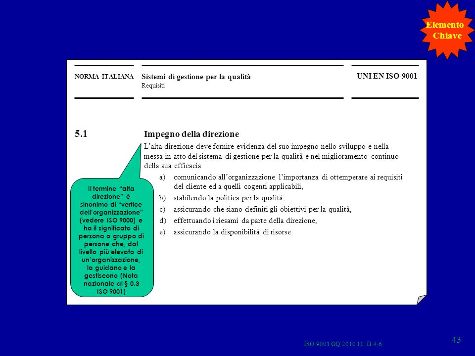 ISO 9001 GQ 2010 11 II 4-6 43 NORMA ITALIANA Sistemi di gestione per la qualità Requisiti UNI EN ISO 9001 Il termine alta direzione è sinonimo di vertice dellorganizzazione (vedere ISO 9000) e ha il significato di persona o gruppo di persone che, dal livello più elevato di unorganizzazione, la guidano e la gestiscono (Nota nazionale al § 0.3 ISO 9001) 5.1 Impegno della direzione Lalta direzione deve fornire evidenza del suo impegno nello sviluppo e nella messa in atto del sistema di gestione per la qualità e nel miglioramento continuo della sua efficacia a)comunicando allorganizzazione limportanza di ottemperare ai requisiti del cliente ed a quelli cogenti applicabili, b)stabilendo la politica per la qualità, c)assicurando che siano definiti gli obiettivi per la qualità, d)effettuando i riesami da parte della direzione, e)assicurando la disponibilità di risorse.