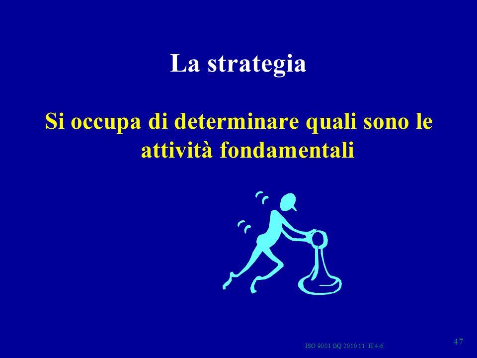 La strategia Si occupa di determinare quali sono le attività fondamentali ISO 9001 GQ 2010 11 II 4-6 47