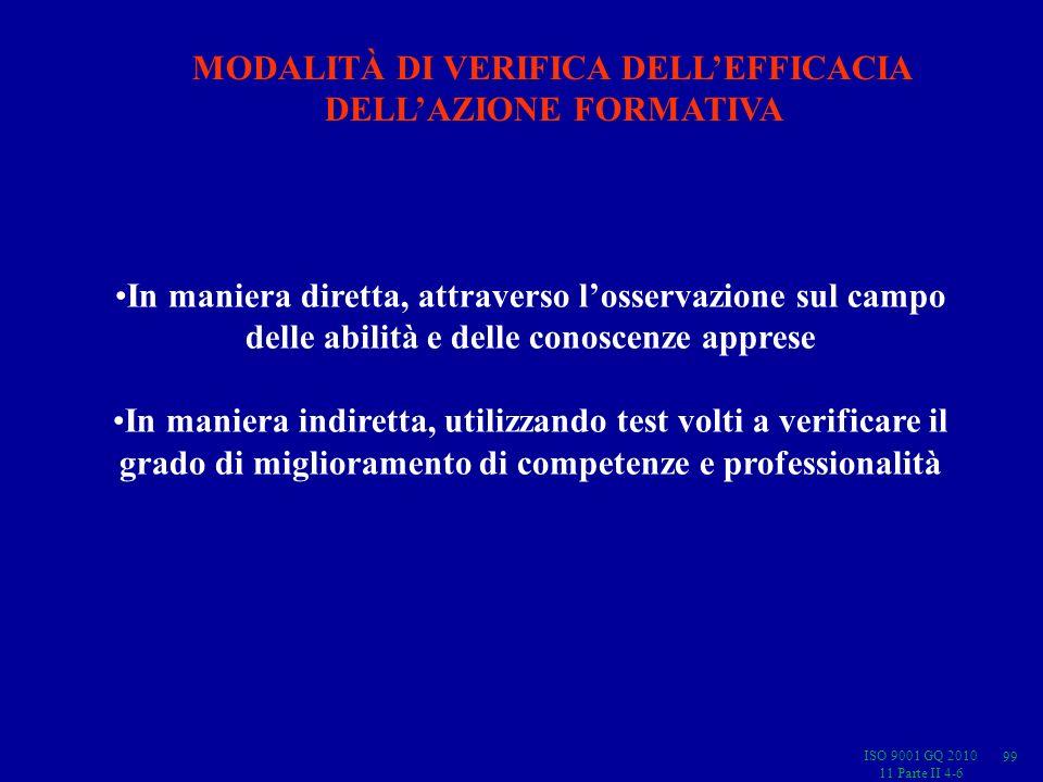 ISO 9001 GQ 2010 11 Parte II 4-6 In maniera diretta, attraverso losservazione sul campo delle abilità e delle conoscenze apprese In maniera indiretta, utilizzando test volti a verificare il grado di miglioramento di competenze e professionalità MODALITÀ DI VERIFICA DELLEFFICACIA DELLAZIONE FORMATIVA 99