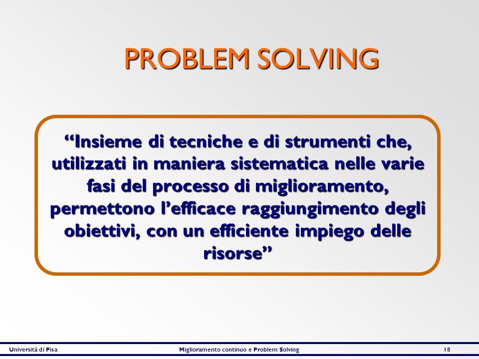 Università di PisaMiglioramento continuo e Problem Solving18 PROBLEM SOLVING PROBLEM SOLVING Insieme di tecniche e di strumenti che, utilizzati in man