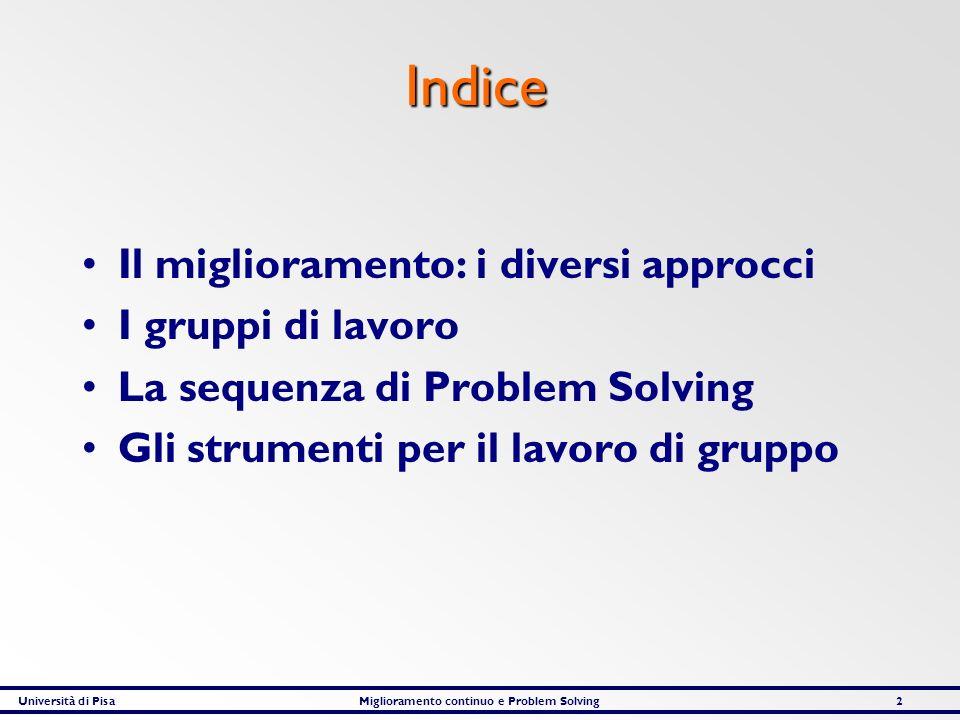 Università di PisaMiglioramento continuo e Problem Solving93 I problemi del reparto VOTI TOTALEARGOMENTI OBIETTIVI TROPPO AMBIZIOSI II 2 RITMI DI PRODUZIONE ECCESSIVI IIII 5 SCARSA MOTIVAZIONE PERSONALE III 3 LONTANANZA DA ALTRI REPARTI IIII II 7 LOGISTICA INTERNA INADEGUATA II 2 MANCANZA MENSA INTERNA III 3 CARENZA DI PERSONALE IIII III 8