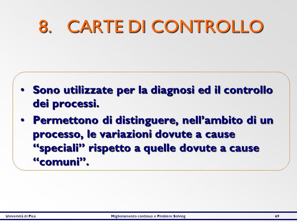 Università di PisaMiglioramento continuo e Problem Solving69 8. CARTE DI CONTROLLO Sono utilizzate per la diagnosi ed il controllo dei processi.Sono u