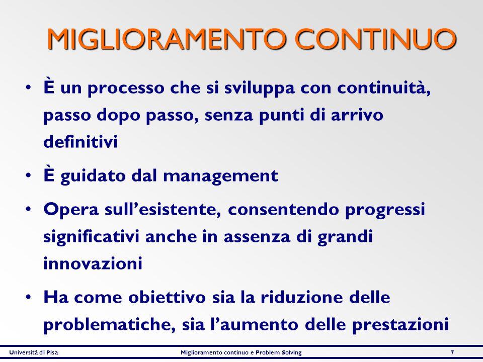 Università di PisaMiglioramento continuo e Problem Solving7 MIGLIORAMENTO CONTINUO MIGLIORAMENTO CONTINUO È un processo che si sviluppa con continuità