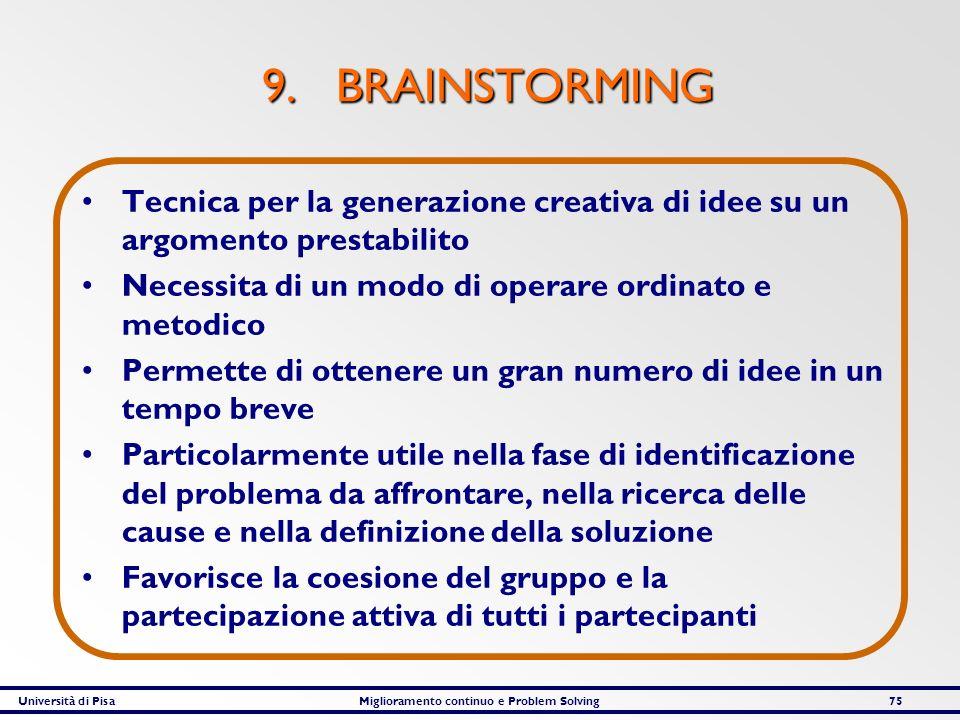 Università di PisaMiglioramento continuo e Problem Solving75 9. BRAINSTORMING Tecnica per la generazione creativa di idee su un argomento prestabilito