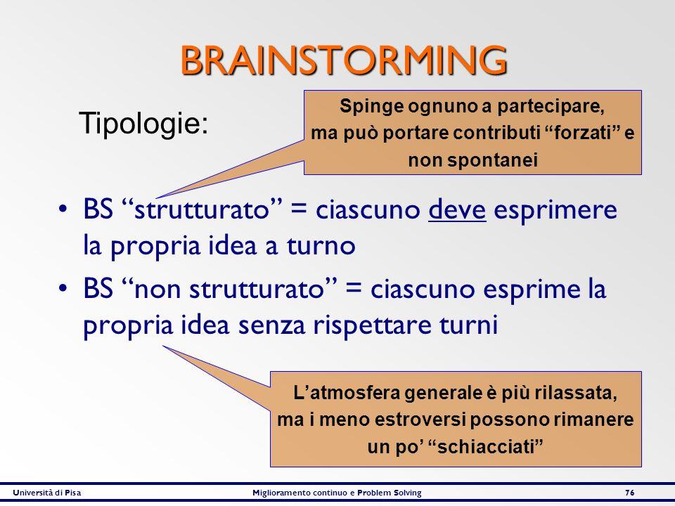 Università di PisaMiglioramento continuo e Problem Solving76 BRAINSTORMING BS strutturato = ciascuno deve esprimere la propria idea a turno BS non str