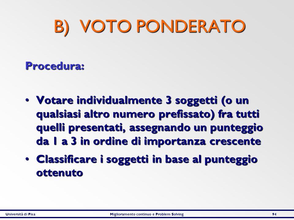 Università di PisaMiglioramento continuo e Problem Solving94 B) VOTO PONDERATO Procedura: Votare individualmente 3 soggetti (o un qualsiasi altro nume