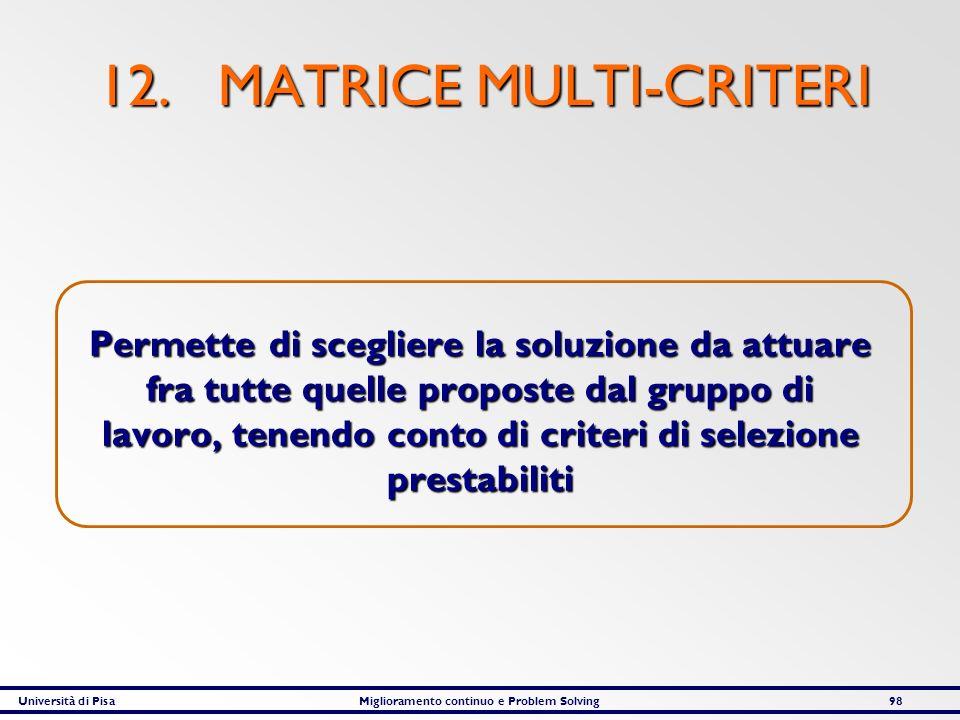 Università di PisaMiglioramento continuo e Problem Solving98 12. MATRICE MULTI-CRITERI Permette di scegliere la soluzione da attuare fra tutte quelle