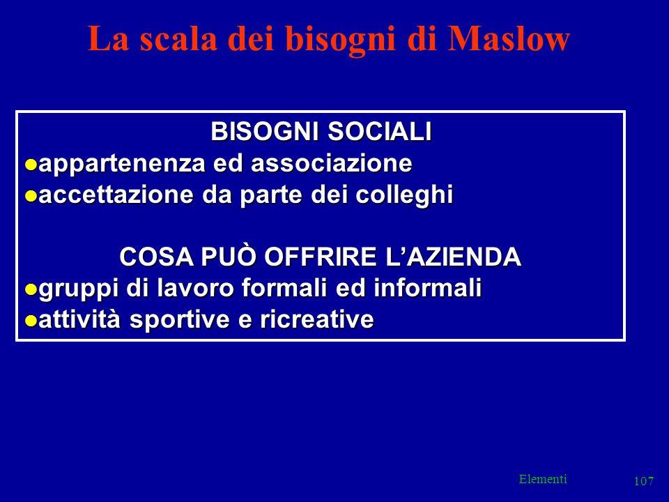 Elementi 107 La scala dei bisogni di Maslow BISOGNI SOCIALI l appartenenza ed associazione l accettazione da parte dei colleghi COSA PUÒ OFFRIRE LAZIE