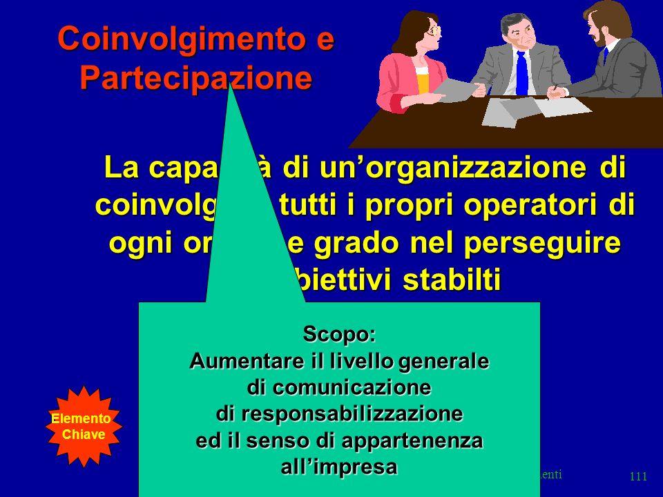 Elementi 111 Coinvolgimento e Partecipazione La capacità di unorganizzazione di coinvolgere tutti i propri operatori di ogni ordine e grado nel perseg