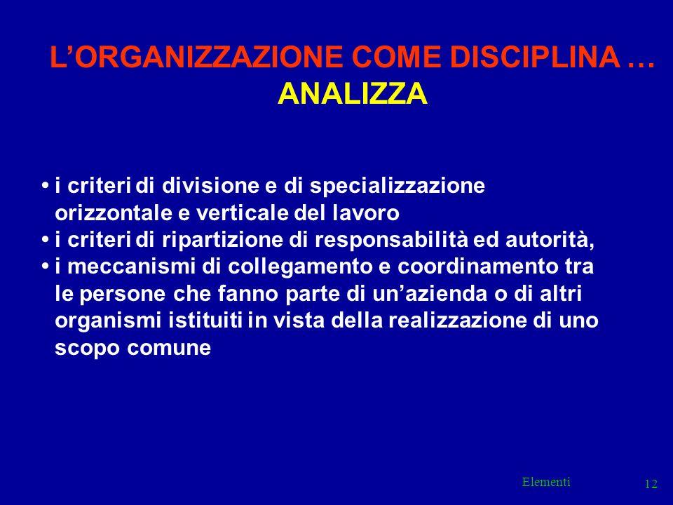 Elementi 12 i criteri di divisione e di specializzazione orizzontale e verticale del lavoro i criteri di ripartizione di responsabilità ed autorità, i
