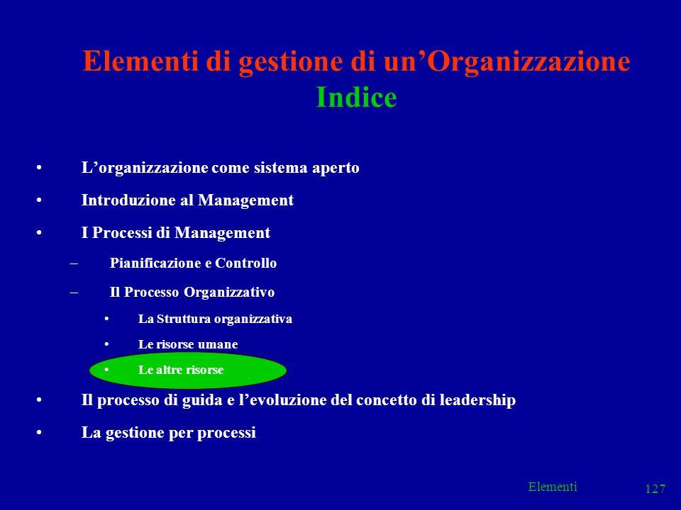 Elementi 127 Elementi di gestione di unOrganizzazione Indice Lorganizzazione come sistema aperto Introduzione al Management I Processi di Management –