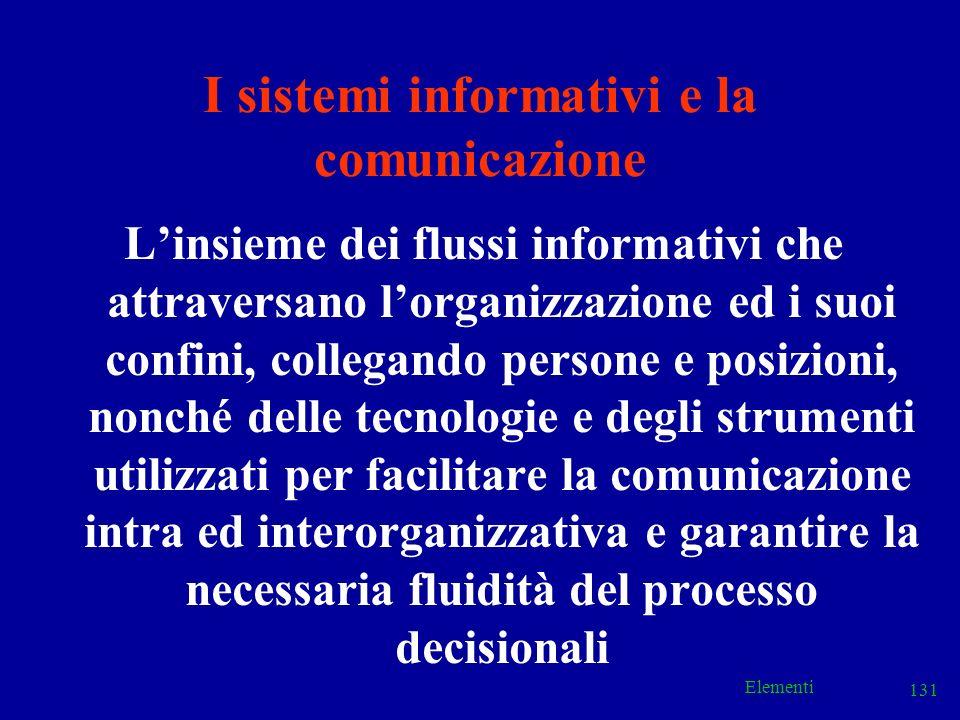 Elementi 131 I sistemi informativi e la comunicazione Linsieme dei flussi informativi che attraversano lorganizzazione ed i suoi confini, collegando p