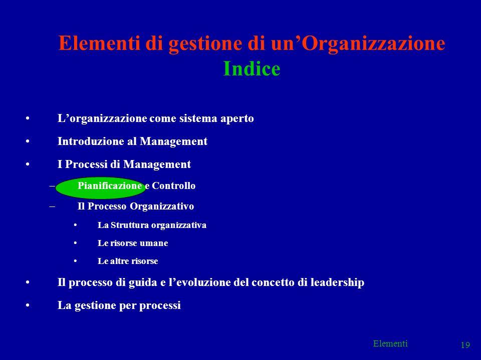 Elementi 19 Elementi di gestione di unOrganizzazione Indice Lorganizzazione come sistema aperto Introduzione al Management I Processi di Management –P