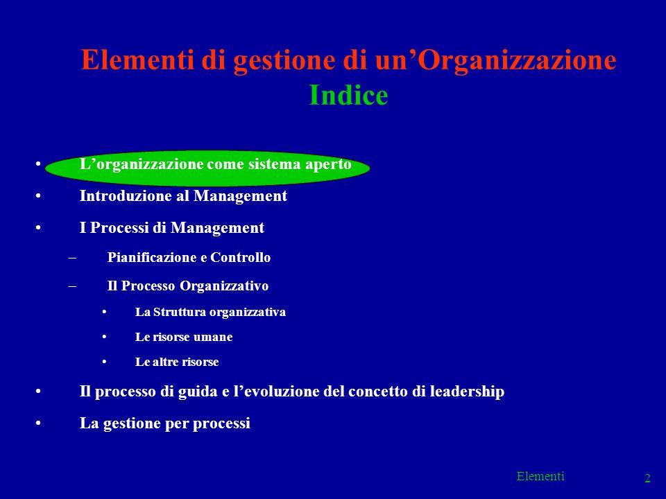 Elementi 53 Elementi di gestione di unOrganizzazione Indice Lorganizzazione come sistema aperto Introduzione al Management I Processi di Management –Pianificazione e Controllo –Il Processo Organizzativo La Struttura organizzativa Le risorse umane Le altre risorse Il processo di guida e levoluzione del concetto di leadership La gestione per processi