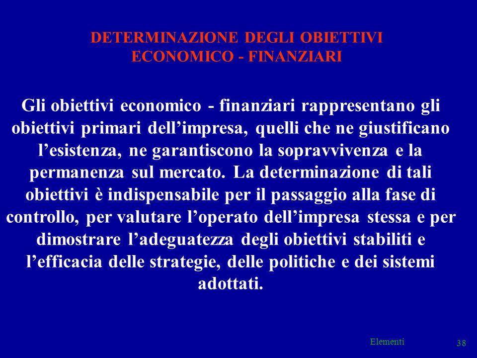 Elementi 38 Gli obiettivi economico - finanziari rappresentano gli obiettivi primari dellimpresa, quelli che ne giustificano lesistenza, ne garantisco