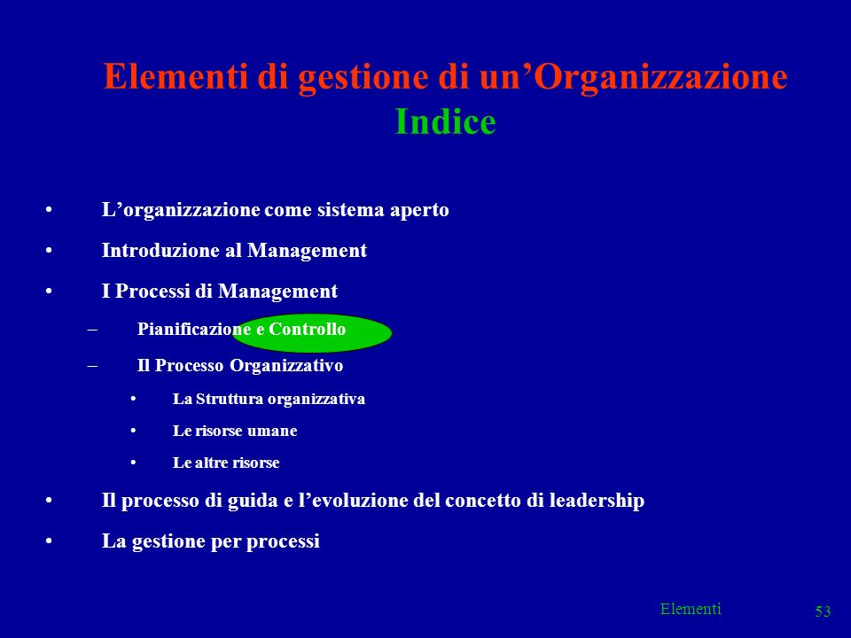 Elementi 53 Elementi di gestione di unOrganizzazione Indice Lorganizzazione come sistema aperto Introduzione al Management I Processi di Management –P