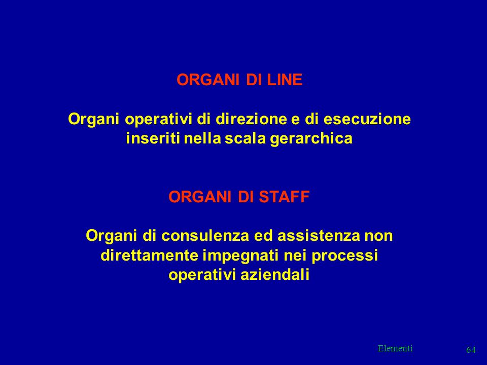 Elementi 64 ORGANI DI LINE Organi operativi di direzione e di esecuzione inseriti nella scala gerarchica ORGANI DI STAFF Organi di consulenza ed assis