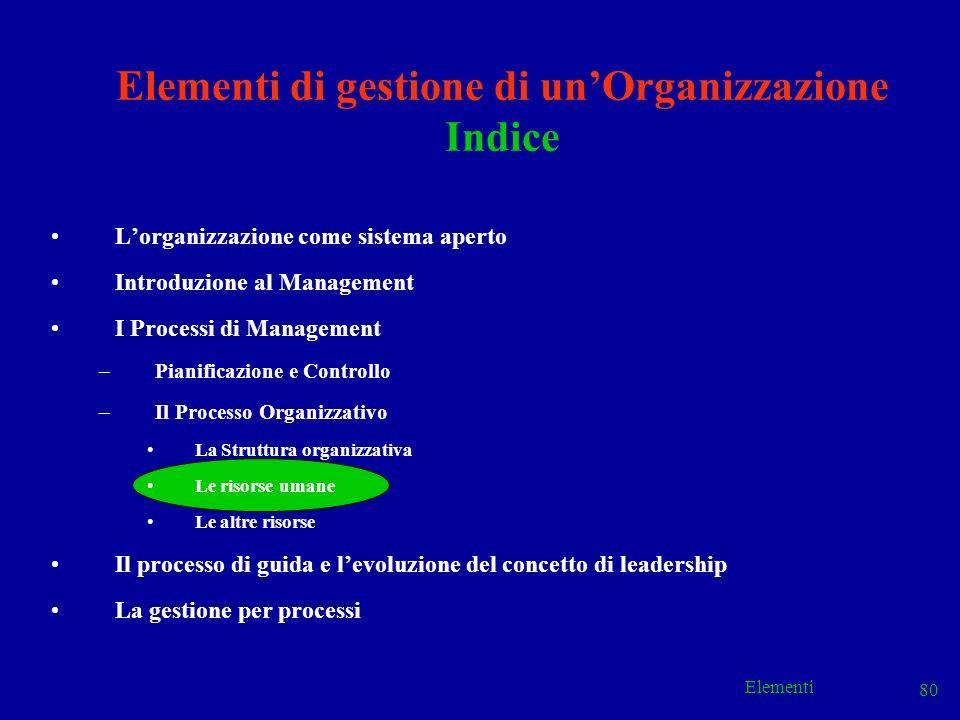 Elementi 80 Elementi di gestione di unOrganizzazione Indice Lorganizzazione come sistema aperto Introduzione al Management I Processi di Management –P