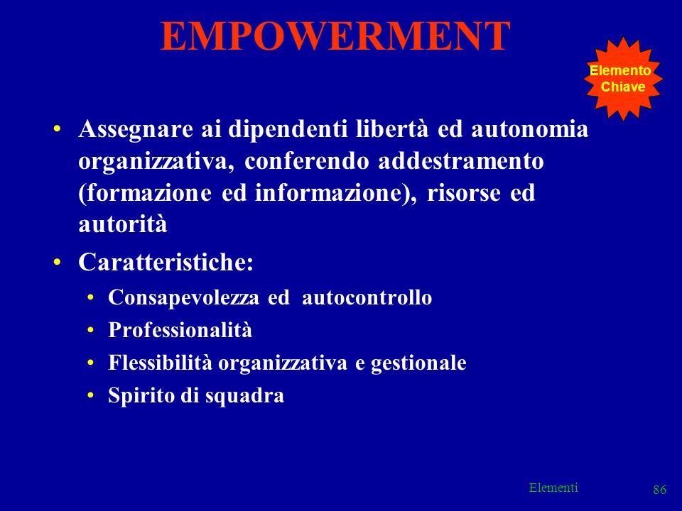 Elementi 86 Assegnare ai dipendenti libertà ed autonomia organizzativa, conferendo addestramento (formazione ed informazione), risorse ed autorità Car