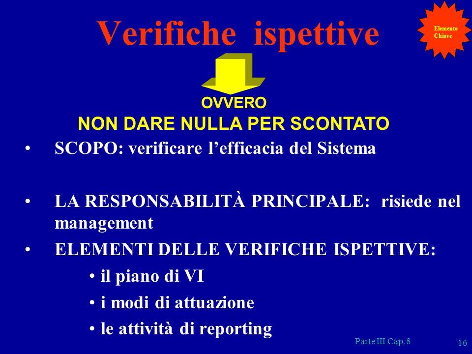 Parte III Cap.8 16 Verifiche ispettive SCOPO: verificare lefficacia del Sistema LA RESPONSABILITÀ PRINCIPALE: risiede nel management ELEMENTI DELLE VE