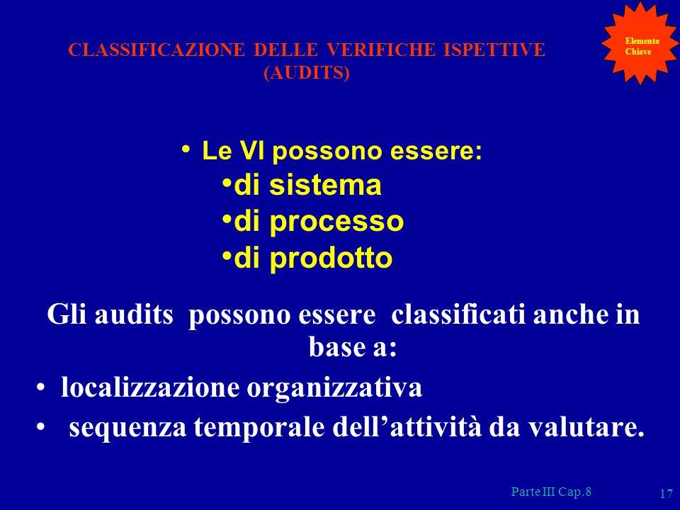 Parte III Cap.8 17 Gli audits possono essere classificati anche in base a: localizzazione organizzativa sequenza temporale dellattività da valutare. C