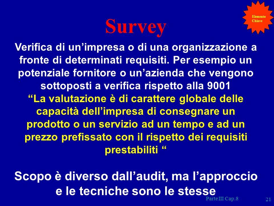 Parte III Cap.8 21 Survey Verifica di unimpresa o di una organizzazione a fronte di determinati requisiti. Per esempio un potenziale fornitore o unazi