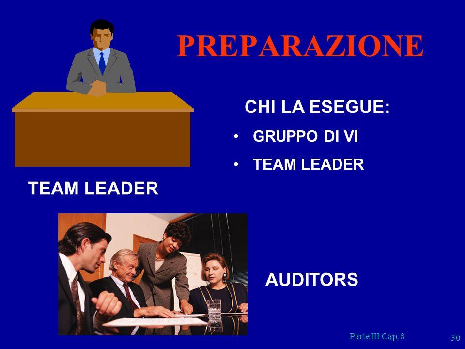 Parte III Cap.8 30 CHI LA ESEGUE: GRUPPO DI VI TEAM LEADER PREPARAZIONE AUDITORS