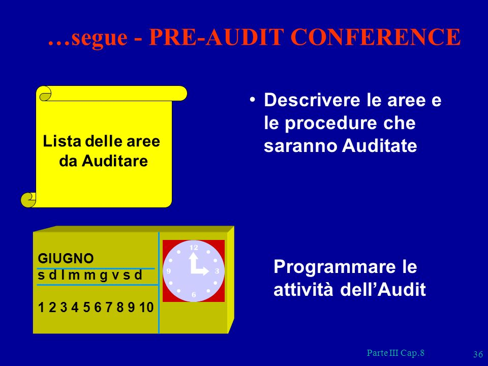 Parte III Cap.8 36 Lista delle aree da Auditare Descrivere le aree e le procedure che saranno Auditate GIUGNO s d l m m g v s d 1 2 3 4 5 6 7 8 9 10 P