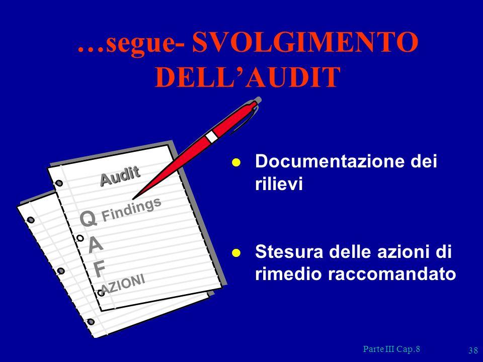 Parte III Cap.8 38 l Documentazione dei rilievi l Stesura delle azioni di rimedio raccomandato …segue- SVOLGIMENTO DELLAUDIT Audit Q Findings A F AZIO