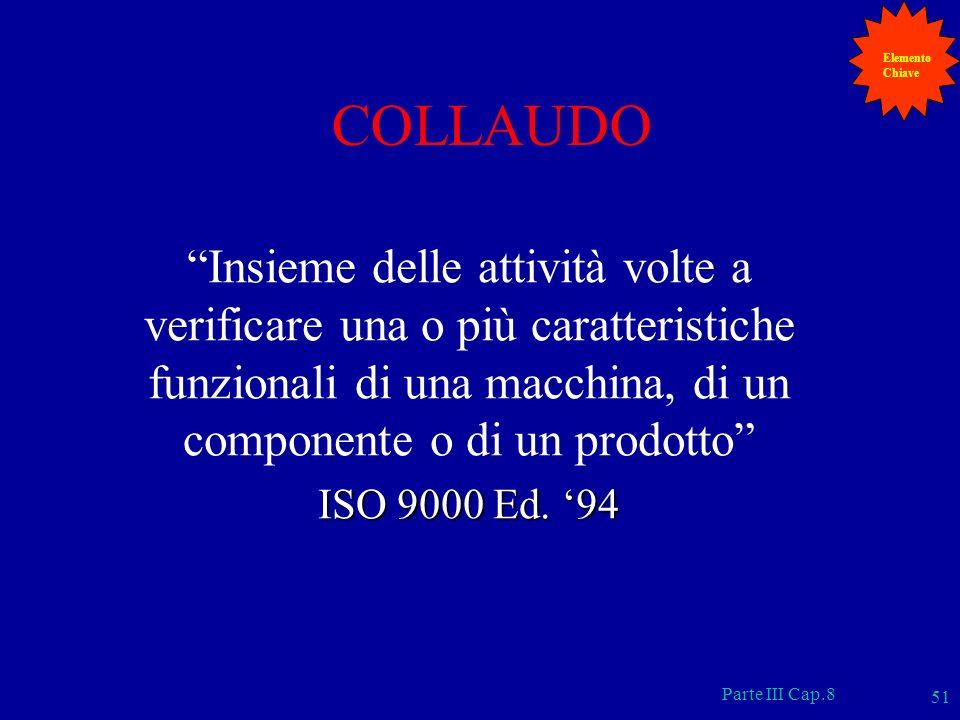 Parte III Cap.8 51 COLLAUDO Insieme delle attività volte a verificare una o più caratteristiche funzionali di una macchina, di un componente o di un p