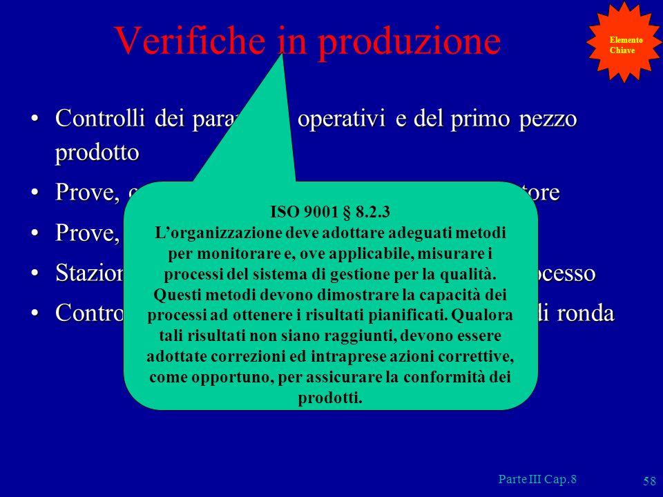 Parte III Cap.8 58 Verifiche in produzione Controlli dei parametri operativi e del primo pezzo prodottoControlli dei parametri operativi e del primo p