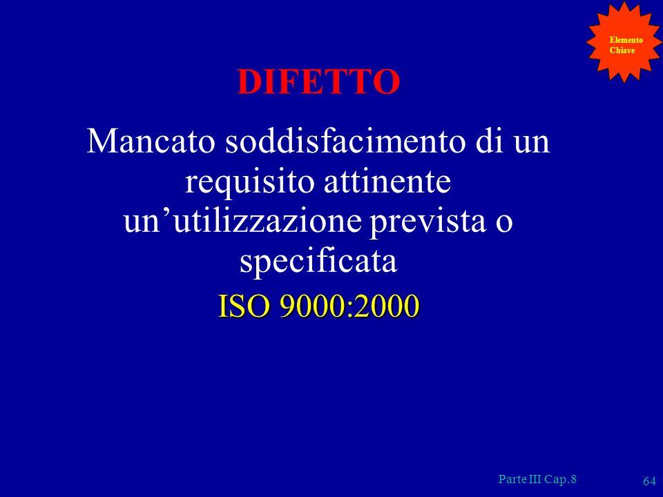 Parte III Cap.8 64 DIFETTO Mancato soddisfacimento di un requisito attinente unutilizzazione prevista o specificata ISO 9000:2000 Elemento Chiave