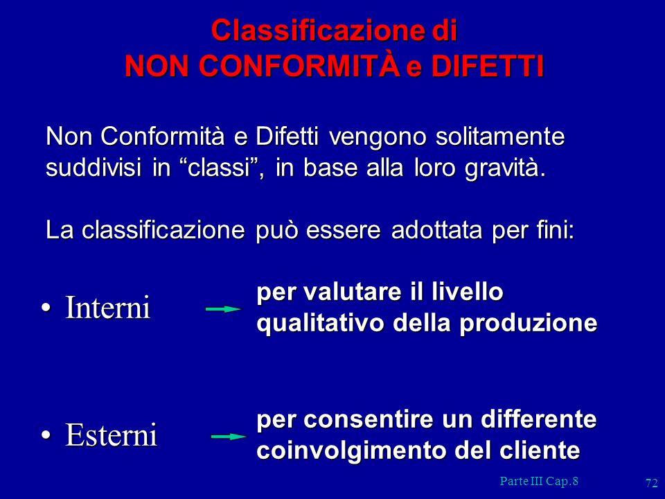 Parte III Cap.8 72 Non Conformità e Difetti vengono solitamente suddivisi in classi, in base alla loro gravità. La classificazione può essere adottata