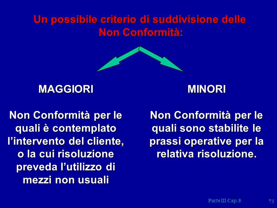 Parte III Cap.8 73 Un possibile criterio di suddivisione delle Non Conformità: Non Conformità: MAGGIORI Non Conformità per le quali è contemplato lint
