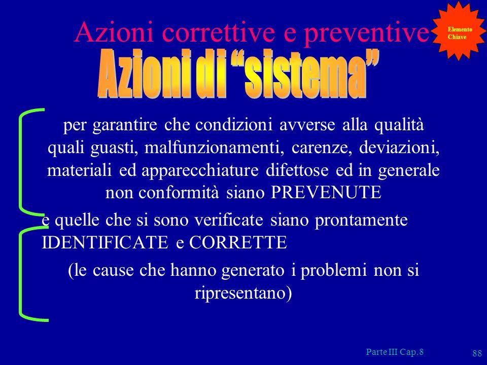 Parte III Cap.8 88 Azioni correttive e preventive per garantire che condizioni avverse alla qualità quali guasti, malfunzionamenti, carenze, deviazion