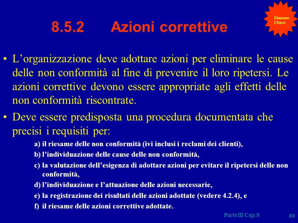 Parte III Cap.8 89 8.5.2 Azioni correttive Lorganizzazione deve adottare azioni per eliminare le cause delle non conformità al fine di prevenire il lo