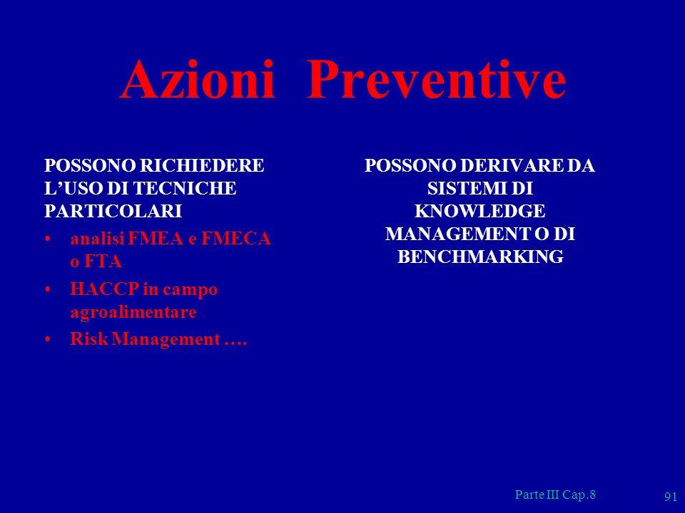 Parte III Cap.8 91 Azioni Preventive POSSONO RICHIEDERE LUSO DI TECNICHE PARTICOLARI analisi FMEA e FMECA o FTA HACCP in campo agroalimentare Risk Man