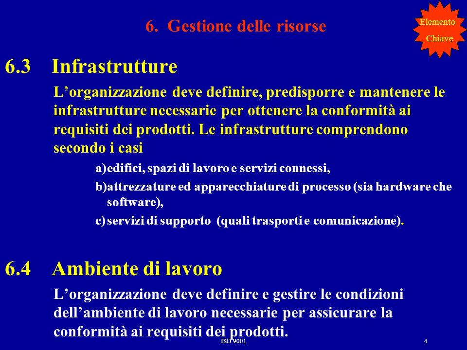 ISO 90014 6.3 Infrastrutture Lorganizzazione deve definire, predisporre e mantenere le infrastrutture necessarie per ottenere la conformità ai requisi
