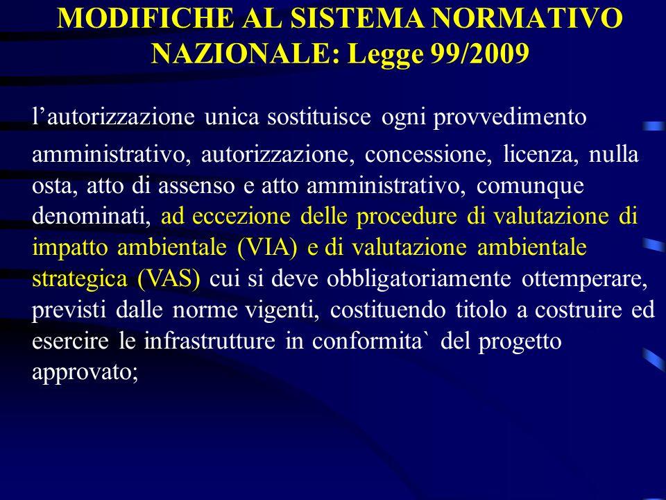 MODIFICHE AL SISTEMA NORMATIVO NAZIONALE: Legge 99/2009 lautorizzazione unica sostituisce ogni provvedimento amministrativo, autorizzazione, concessio