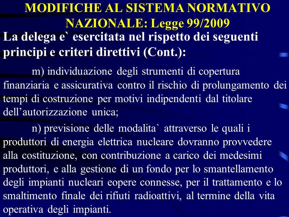 MODIFICHE AL SISTEMA NORMATIVO NAZIONALE: Legge 99/2009 La delega e` esercitata nel rispetto dei seguenti principi e criteri direttivi (Cont.): m) ind
