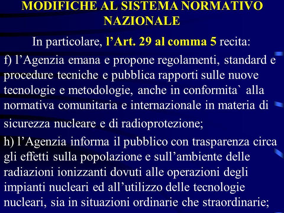 MODIFICHE AL SISTEMA NORMATIVO NAZIONALE In particolare, lArt. 29 al comma 5 recita: f) lAgenzia emana e propone regolamenti, standard e procedure tec