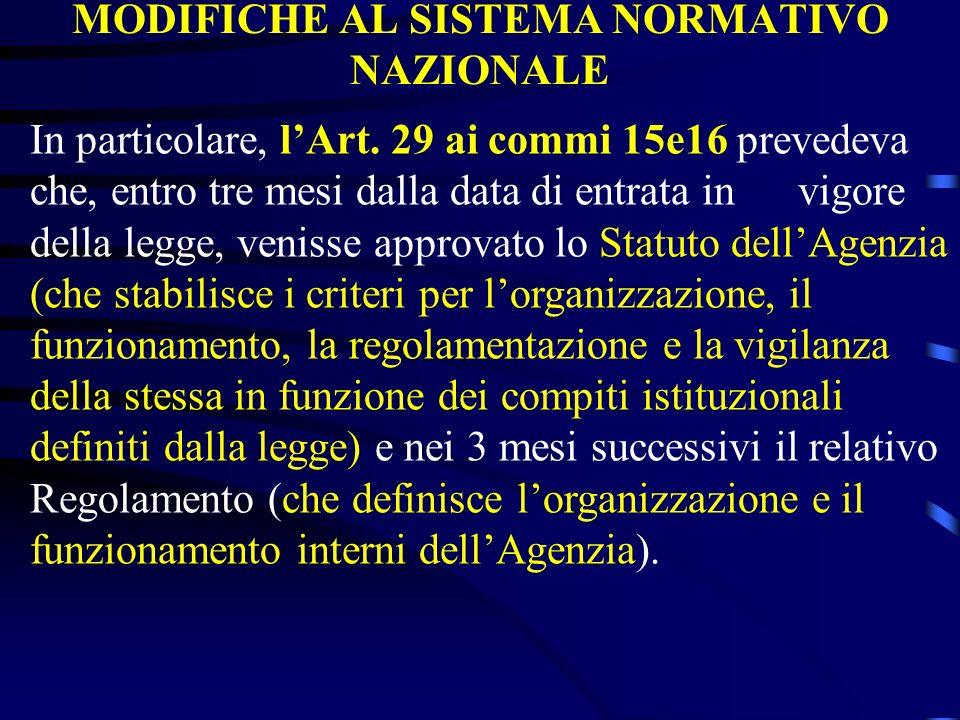 MODIFICHE AL SISTEMA NORMATIVO NAZIONALE In particolare, lArt. 29 ai commi 15e16 prevedeva che, entro tre mesi dalla data di entrata in vigore della l