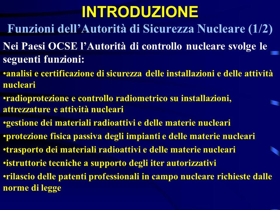 INTRODUZIONE INTRODUZIONE Funzioni dellAutorità di Sicurezza Nucleare (1/2) Nei Paesi OCSE lAutorità di controllo nucleare svolge le seguenti funzioni
