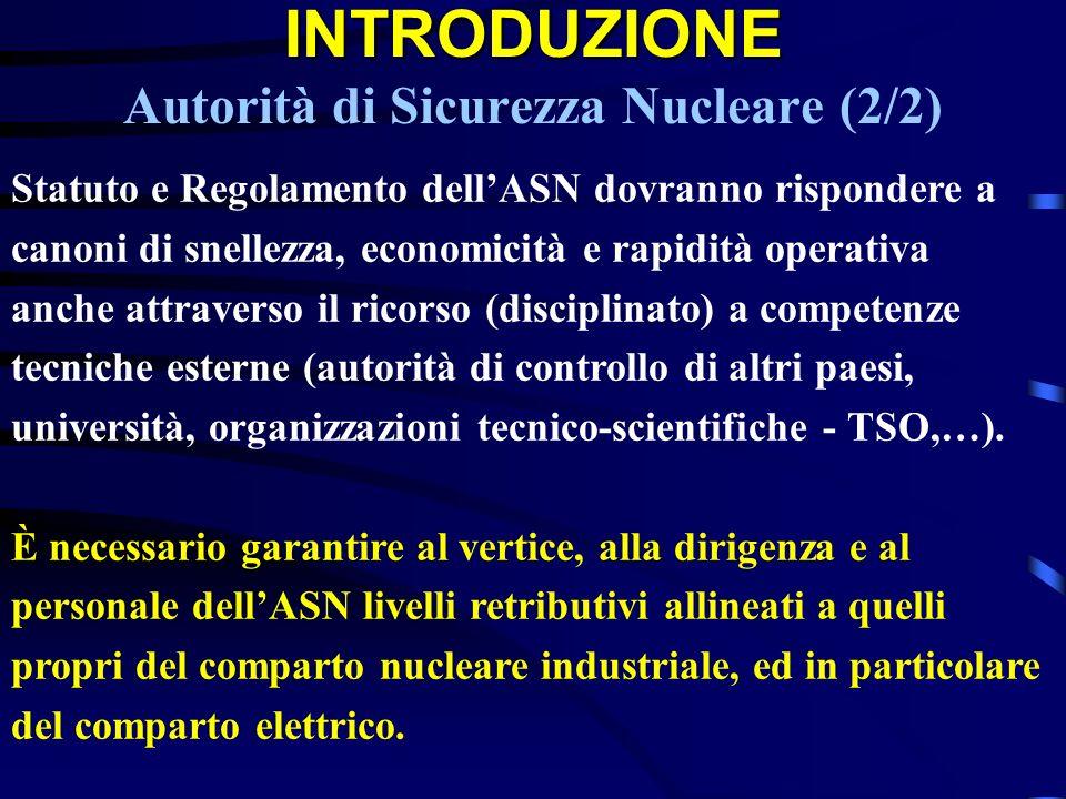 INTRODUZIONE INTRODUZIONE Autorità di Sicurezza Nucleare (2/2) Statuto e Regolamento dellASN dovranno rispondere a canoni di snellezza, economicità e