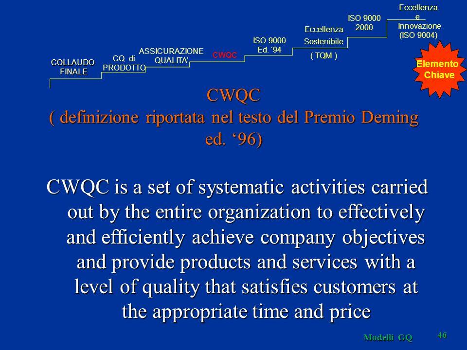 46 CWQC ( definizione riportata nel testo del Premio Deming ed.