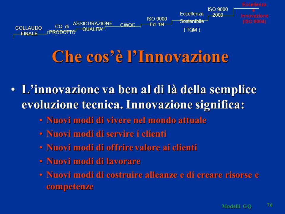Modelli GQ 76 Che cosè lInnovazione Linnovazione va ben al di là della semplice evoluzione tecnica. Innovazione significa:Linnovazione va ben al di là