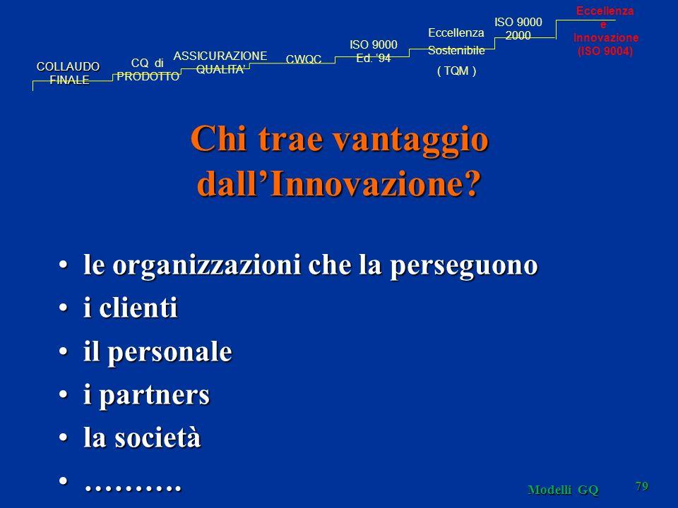 Modelli GQ 79 Chi trae vantaggio dallInnovazione? le organizzazioni che la perseguonole organizzazioni che la perseguono i clientii clienti il persona