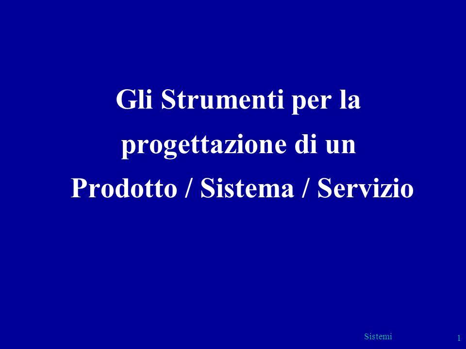 Sistemi 1 Gli Strumenti per la progettazione di un Prodotto / Sistema / Servizio
