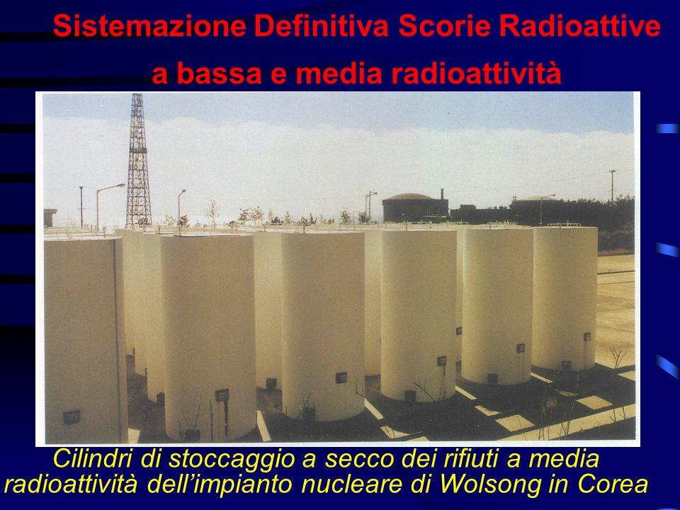 Sistemazione Definitiva Scorie Radioattive a bassa e media radioattività Cilindri di stoccaggio a secco dei rifiuti a media radioattività dellimpianto