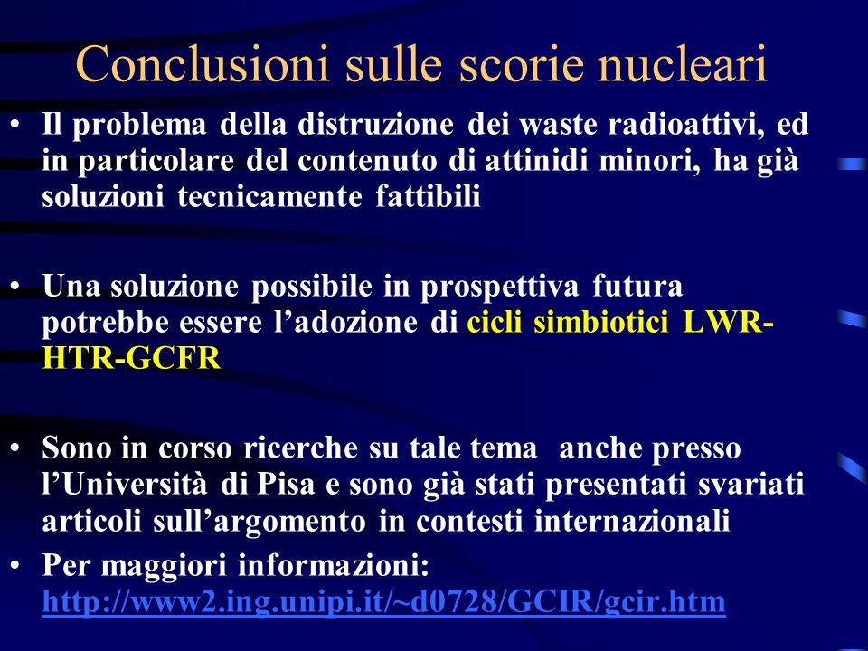 Conclusioni sulle scorie nucleari Il problema della distruzione dei waste radioattivi, ed in particolare del contenuto di attinidi minori, ha già solu